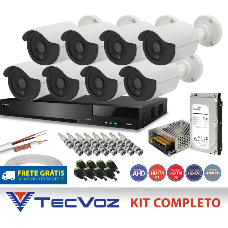 Kit Flex Hd Tecvoz 8 Canais com 8 Câmeras 5 Em 1 completo  - CFTV Clube | Brasil
