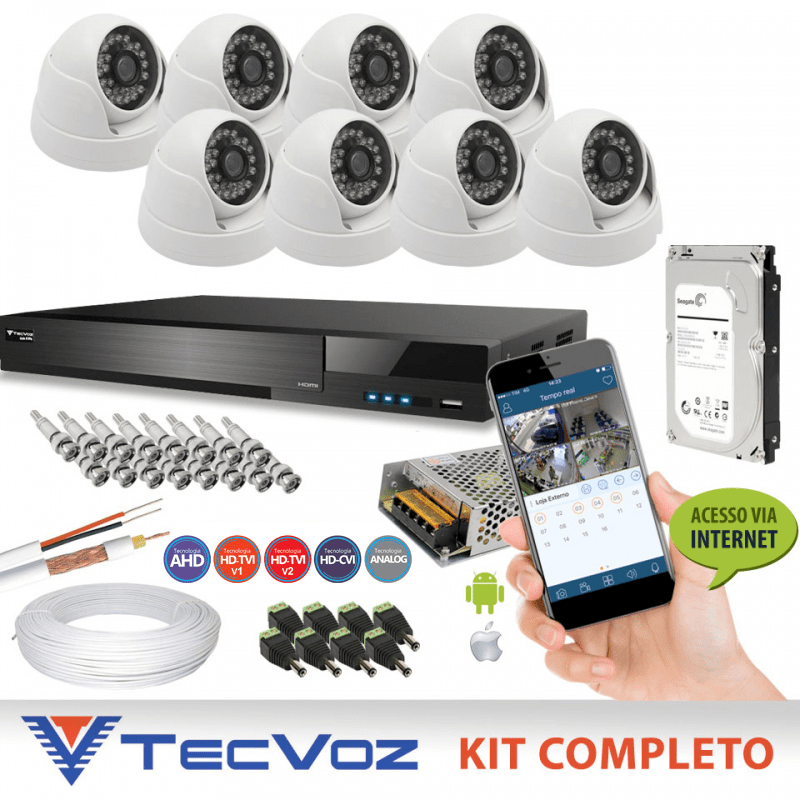 Kit Nacional Alta Definição Flex HD Tecvoz Completo 8 Canais de Vídeo com 8 Câmeras Dome de Metal    - CFTV Clube | Brasil