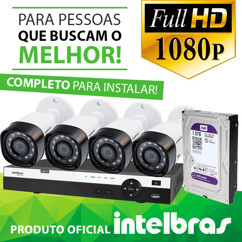 Kit Definição Total Intelbras Completo Full HD com 4 Canais e 4 Câmeras Bullet 1080p  - CFTV Clube | Brasil