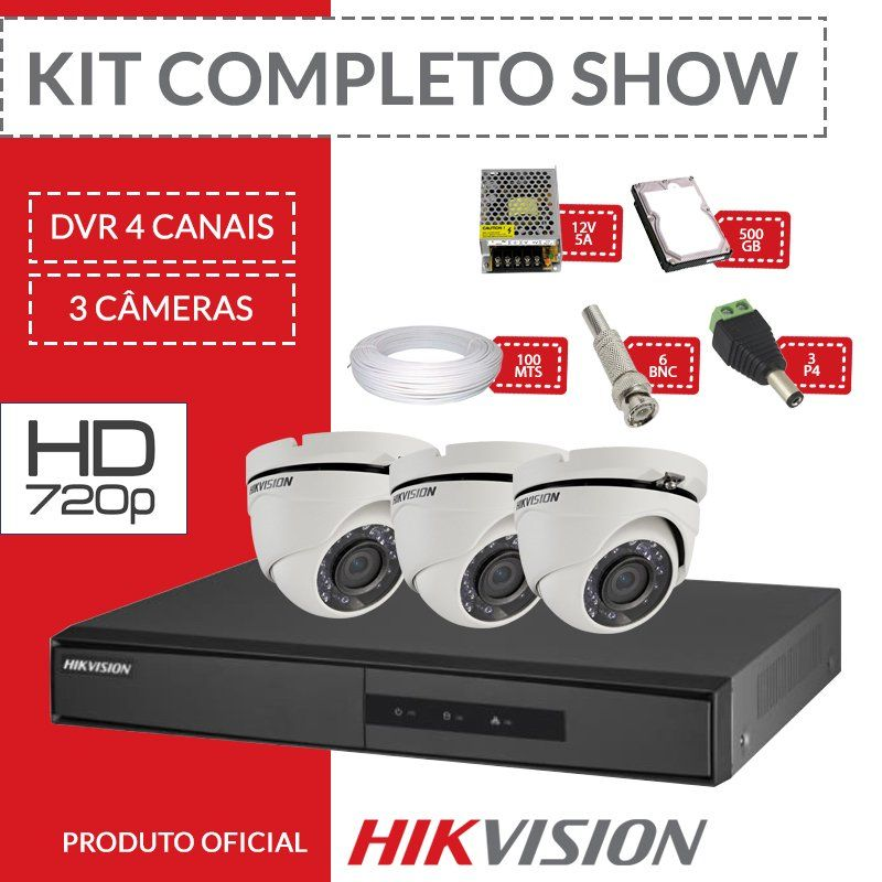 Kit Hikvision Completo em Alta Definição - 3 Câmeras Internas HD  - CFTV Clube | Brasil