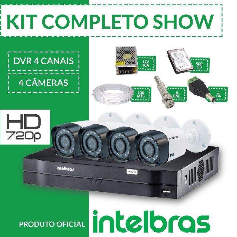 Kit Intelbras Completo Alta definição - 4 Câmeras - HD  - CFTV Clube | Brasil