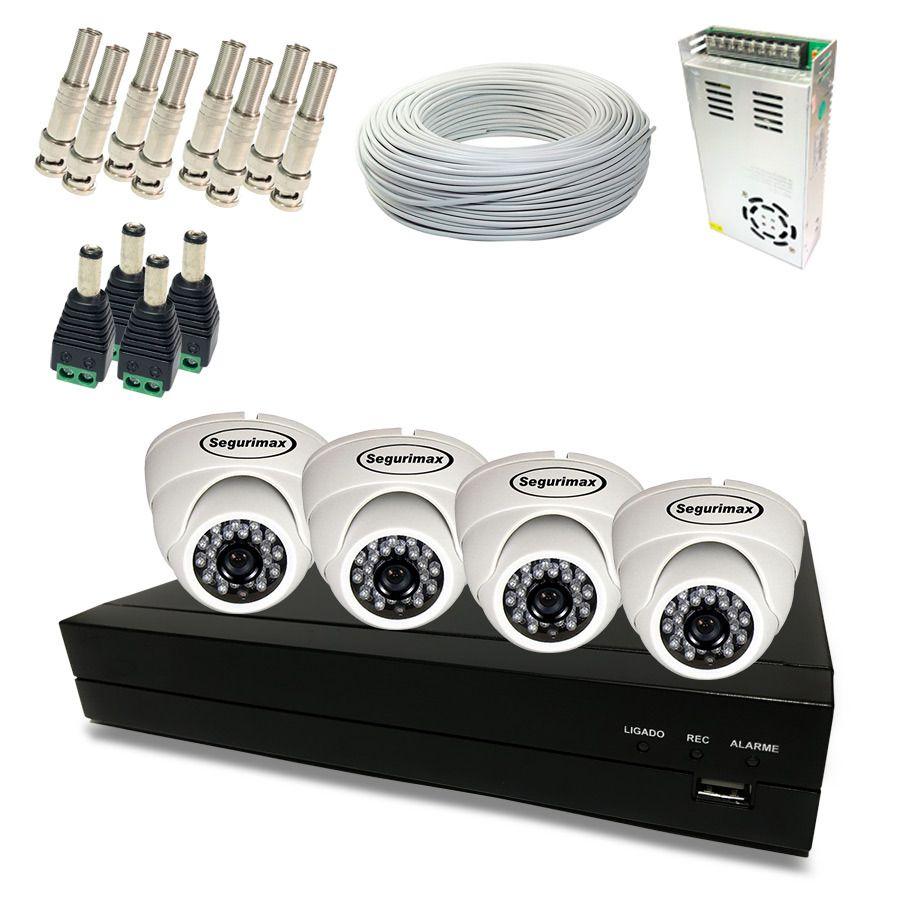 Kit Monitoramento Fácil HD - 4 Câmeras Internas 720p HD  - CFTV Clube | Brasil