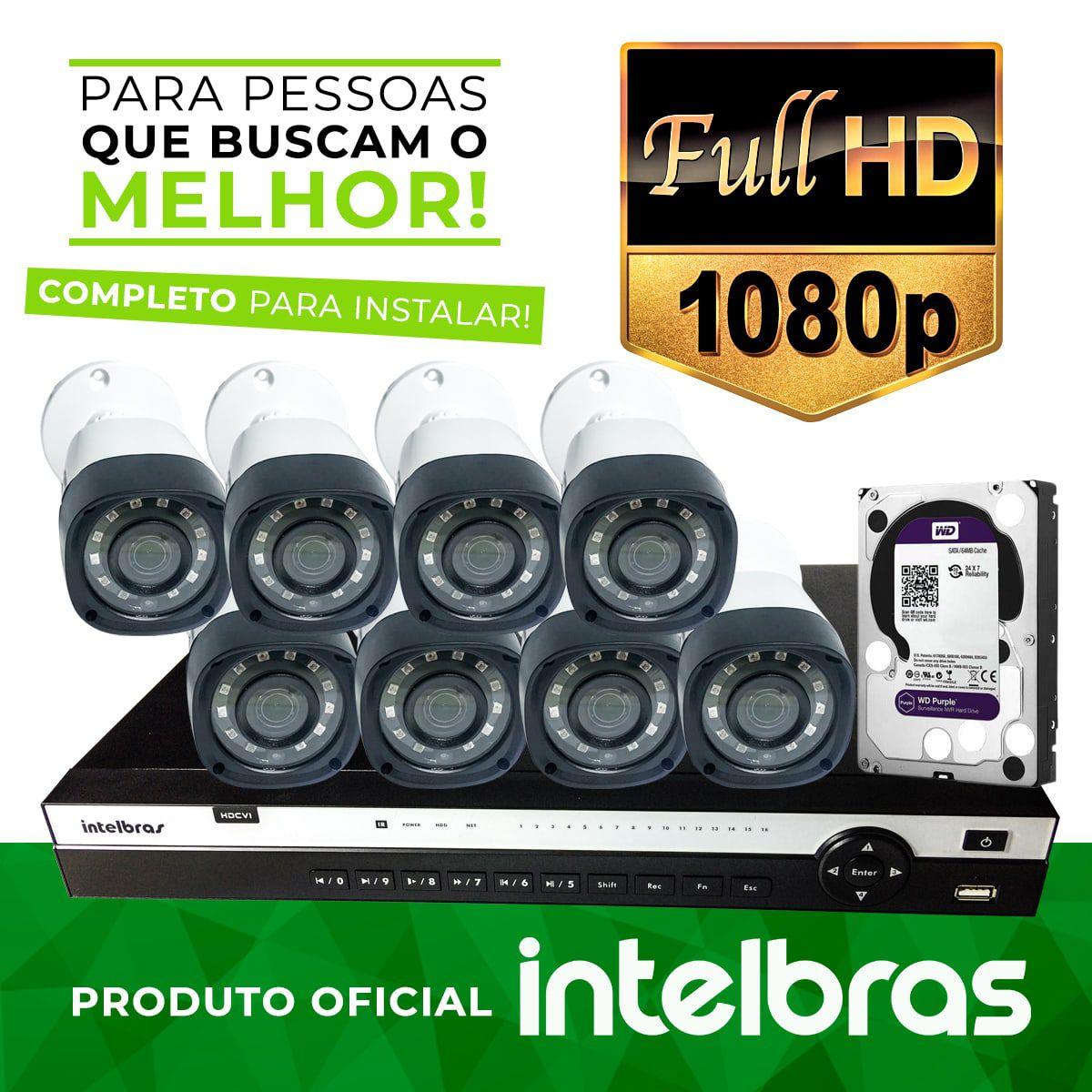 Kit Monitoramento Profissional Completo Intelbras Alta Denifição Full HD 8 Canais de Vídeo com 8 Câmeras Full HD 1080p  - CFTV Clube | Brasil