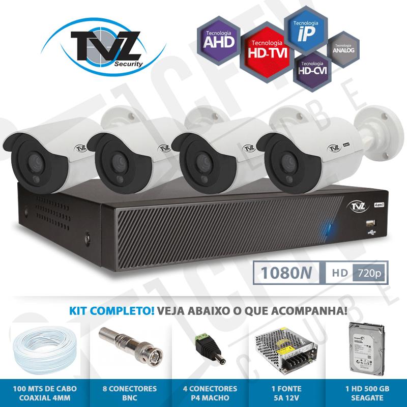 Kit Super Flex Alta definição 4 Canais com 4 Câmeras Tecvoz Tvz completo  - CFTV Clube | Brasil