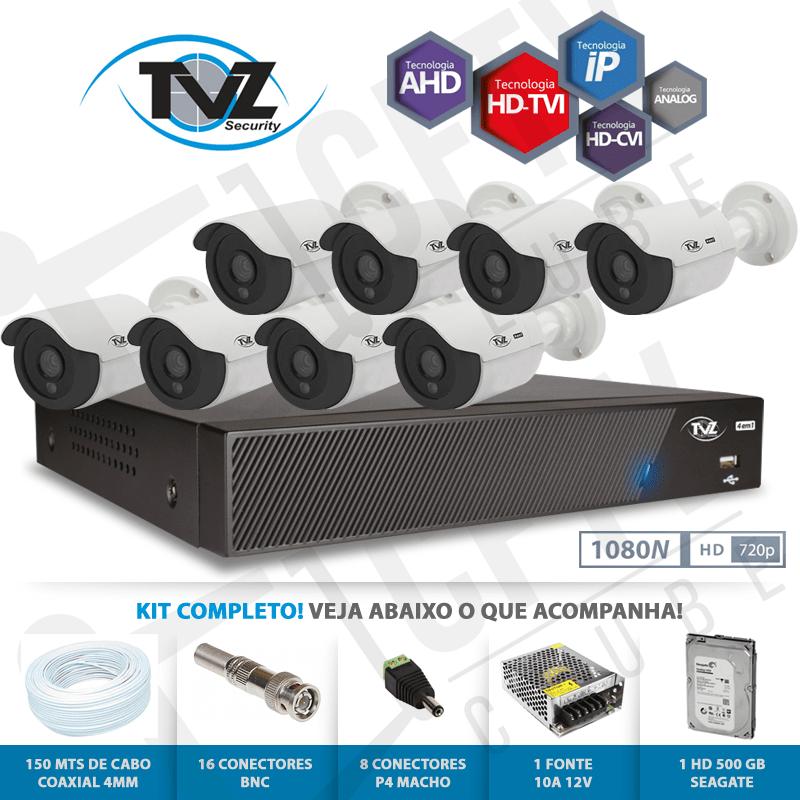 Kit Super Flex Alta definição 8 Canais com 8 Câmeras Tecvoz Tvz completo  - CFTV Clube | Brasil