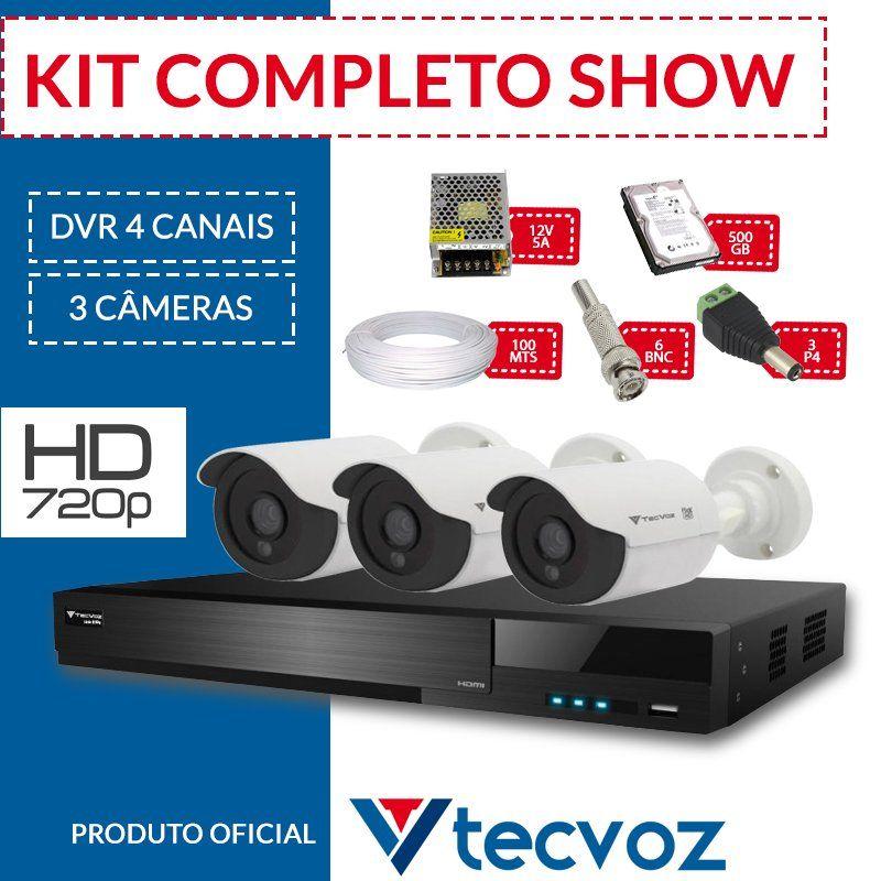 Kit Tecvoz Completo em Alta Definição - 3 câmeras HD  - CFTV Clube | Brasil