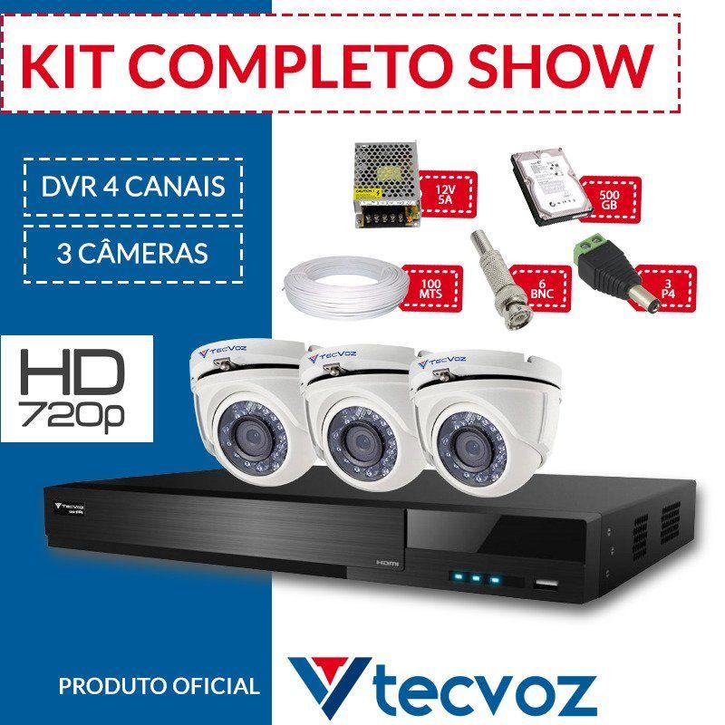 Kit Tecvoz Completo em Alta Definição - 3 câmeras interna HD  - CFTV Clube | Brasil
