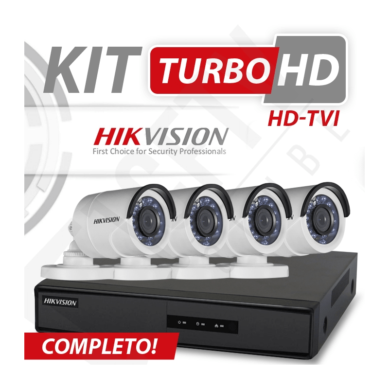 Kit Turbo Hd Hikvision Alta definição 4 Canais - Recomendado!  - CFTV Clube | Brasil