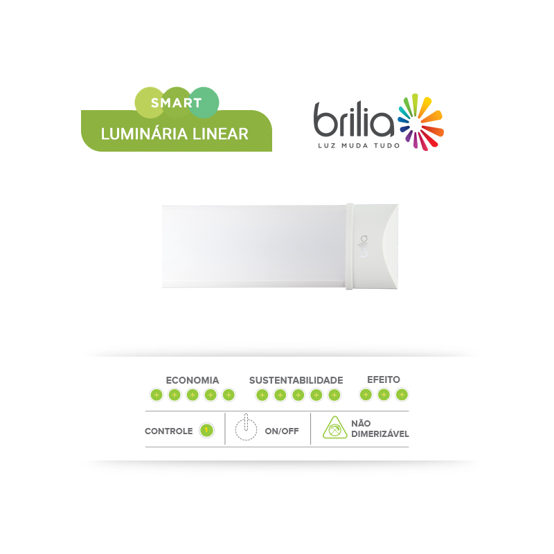 Luminária Led Linear Slim 60cm - Brilia  - CFTV Clube | Brasil