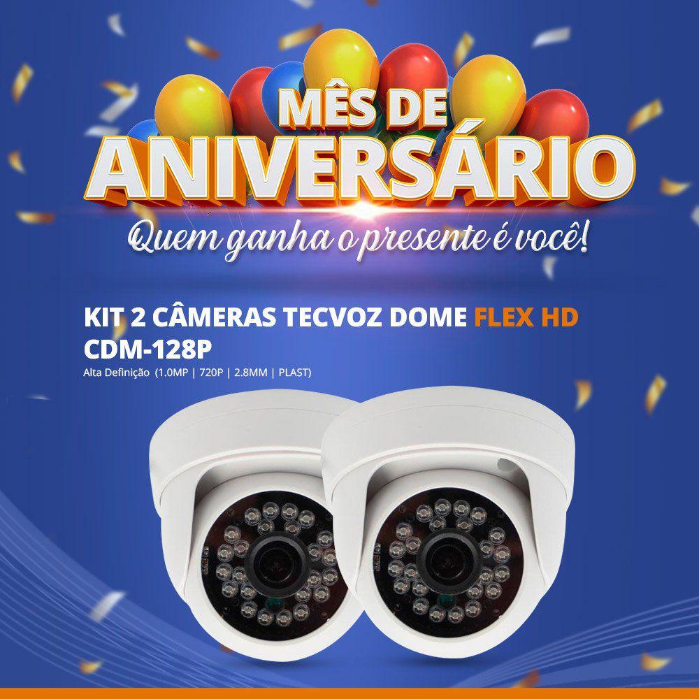Mês de Aniversário - Kit com 2 Unidades Câmera Tecvoz Dome Flex HD CDM-128P (1.0MP | 720p | 2.8mm | Plast)  - CFTV Clube | Brasil