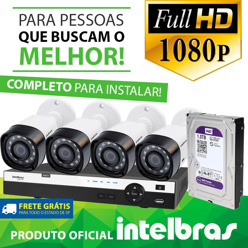 Mês de Aniversário - Kit Definição Total Intelbras Completo Full HD com 4 Canais e 4 Câmeras Bullet 1080p  - CFTV Clube | Brasil