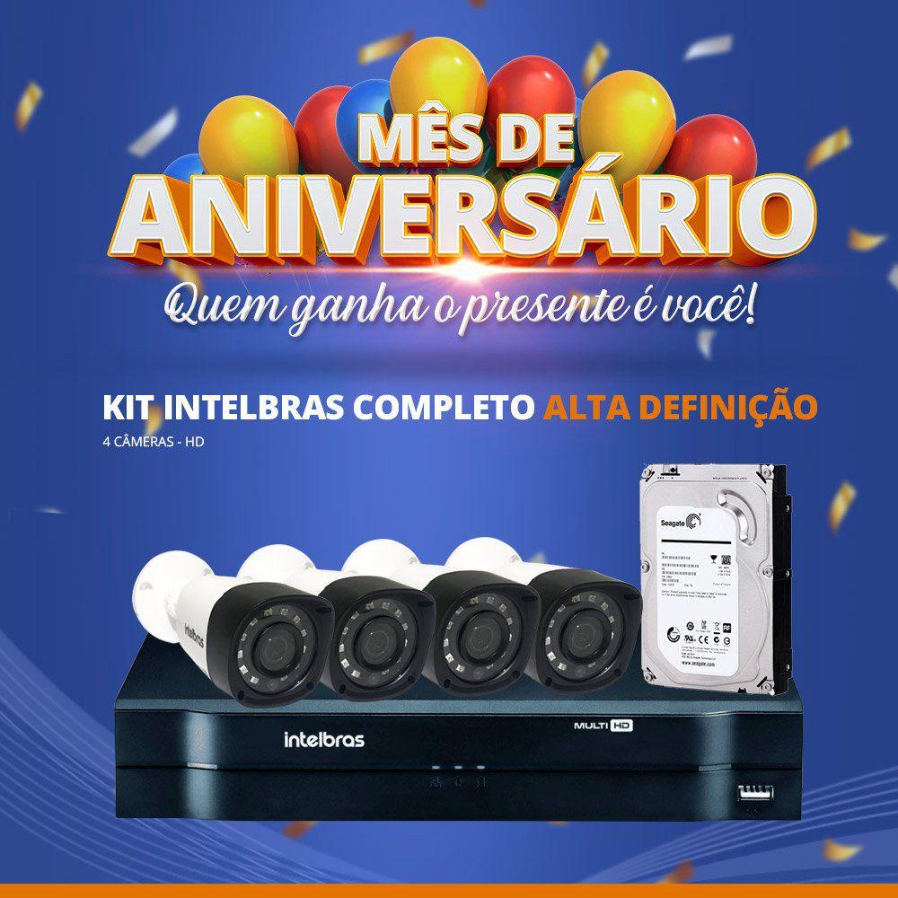 Mês de Aniversário - Kit Intelbras Completo Alta definição - 4 Câmeras - HD  - CFTV Clube | Brasil