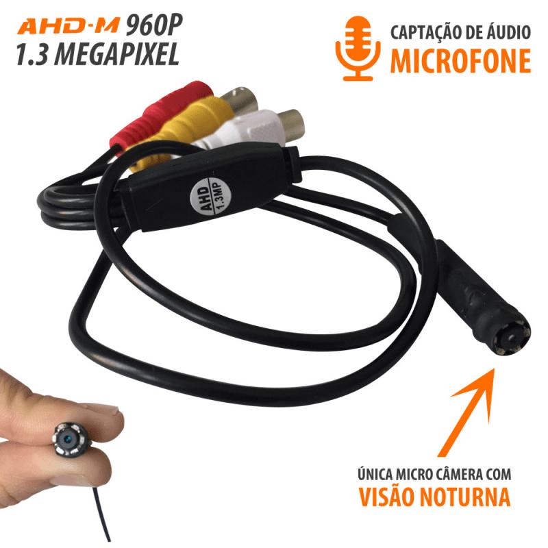 Micro Câmera AHD c/ Infravermelho (1.3MP | 960p | 3.6mm)  - CFTV Clube | Brasil