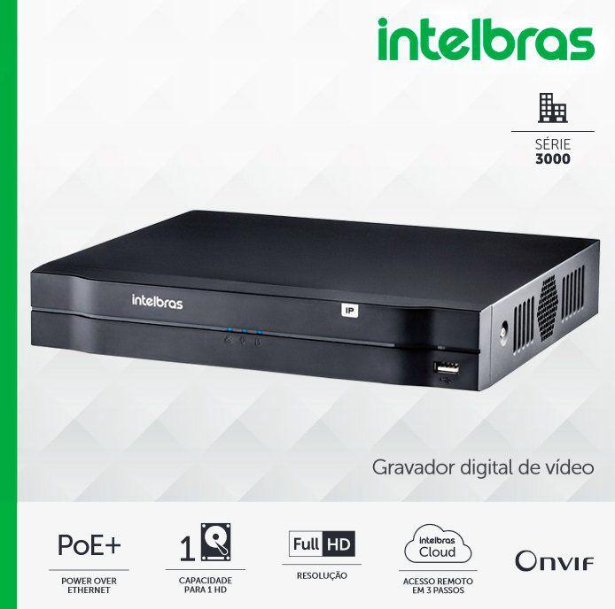 NVD 3108 P Intelbras - Gravador digital de vídeo em rede c/ 1 HD de fábrica de 1TB - p/ até 8 canais IP em Full HD @ 30 fps, 8 portas POE+  - CFTV Clube | Brasil