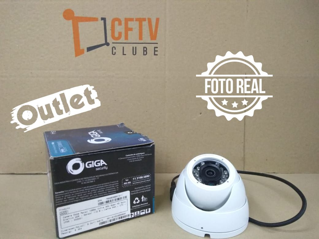 Outlet - Câmera Giga GS0051 Dome Open HD Sony Starvis IR WDR 30M 4MM IP66 Full HD (2.0MP | 1080P | 4mm | Metal)  - CFTV Clube | Brasil