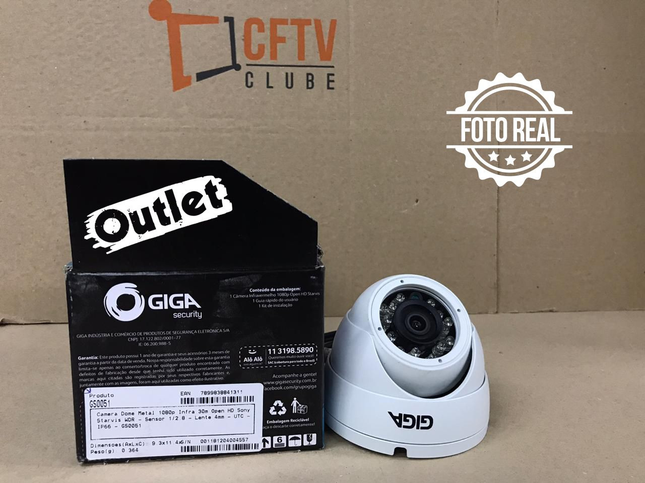 Outlet - Câmera Giga GS0051 Dome Open HD Sony Starvis IR WDR 30M 4MM IP66 Full HD (2.0MP   1080P   4mm   Metal)  - CFTV Clube   Brasil
