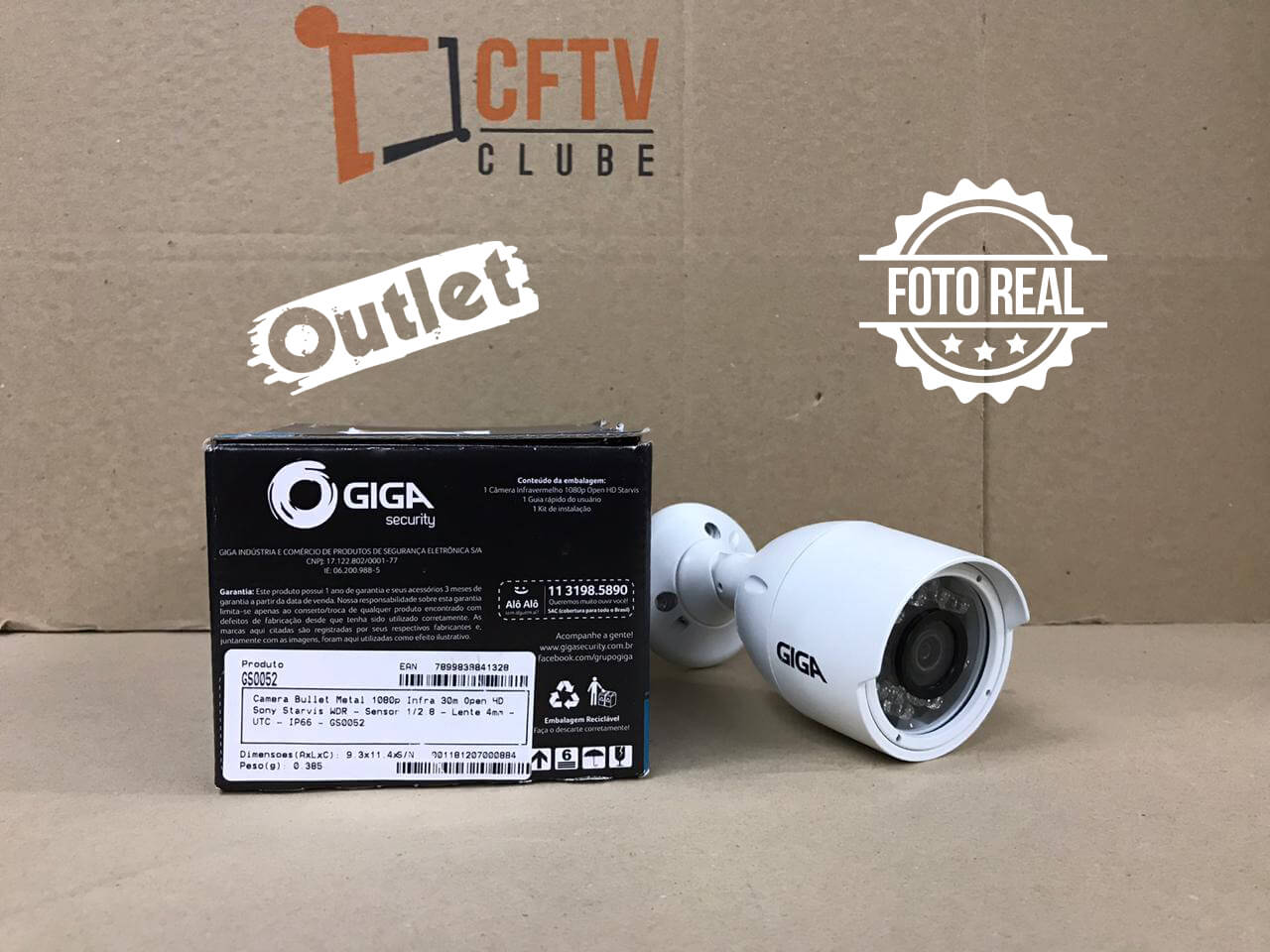 Outlet - Câmera Giga GS0052 Bullet Open HD Sony Starvis IR WDR 30M 4MM IP66 Full HD (2.0MP | 1080P | 2.8mm | Metal)   - CFTV Clube | Brasil