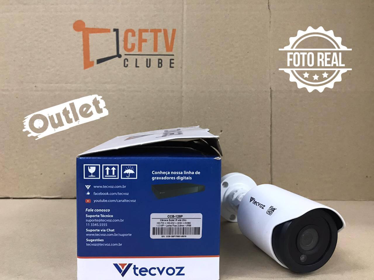 Outlet - Câmera Tecvoz Bullet Flex HD CCB-128P Alta Definição (1.0MP | 720p | 2.8mm | Plast)  - CFTV Clube | Brasil