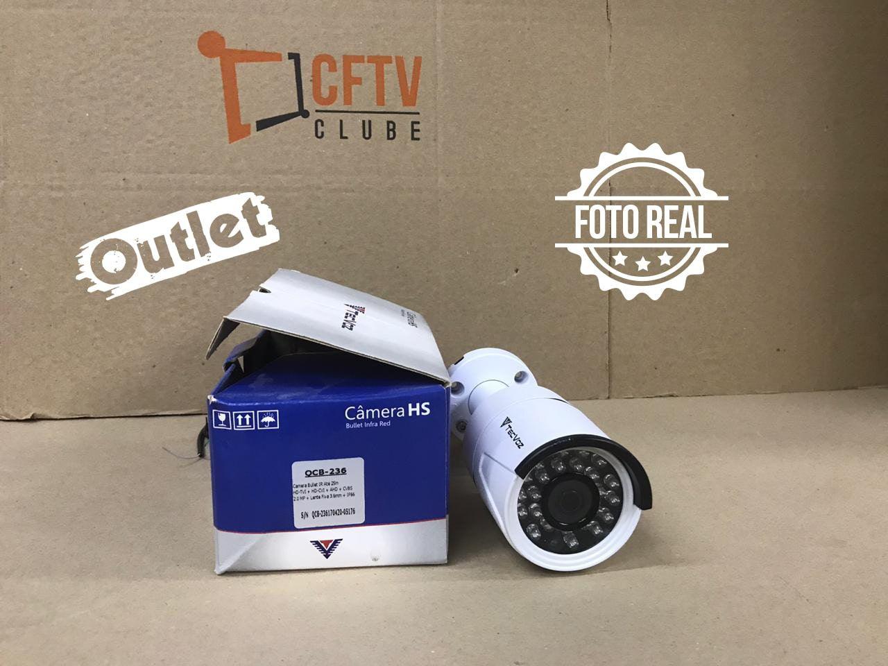 Outlet - Câmera Tecvoz Bullet Flex HD QCB-236 Full HD (2.0MP | 1080p | 3.6mm | Metal)  - CFTV Clube | Brasil