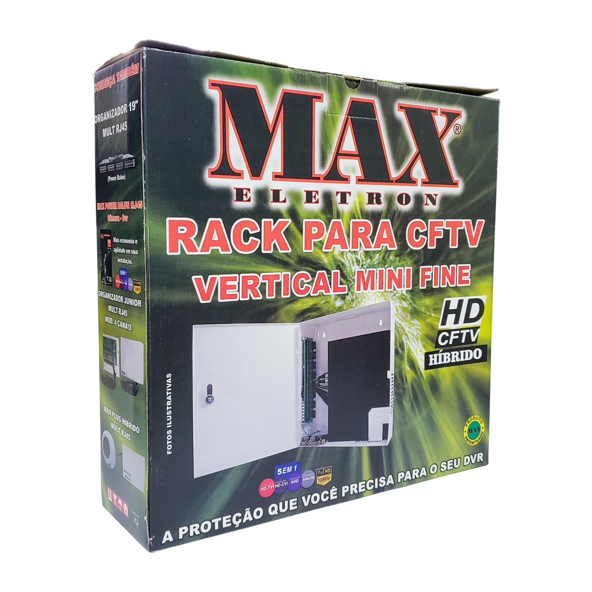 Rack Vertical Fine c/ Placa Eletrônica 4 Canais Max Eletron  - CFTV Clube | Brasil