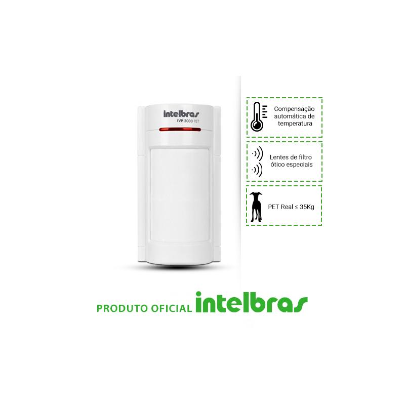 Sensor Infravermelho Passivo IVP com Fio Intelbras - 3000 Pet  - CFTV Clube | Brasil