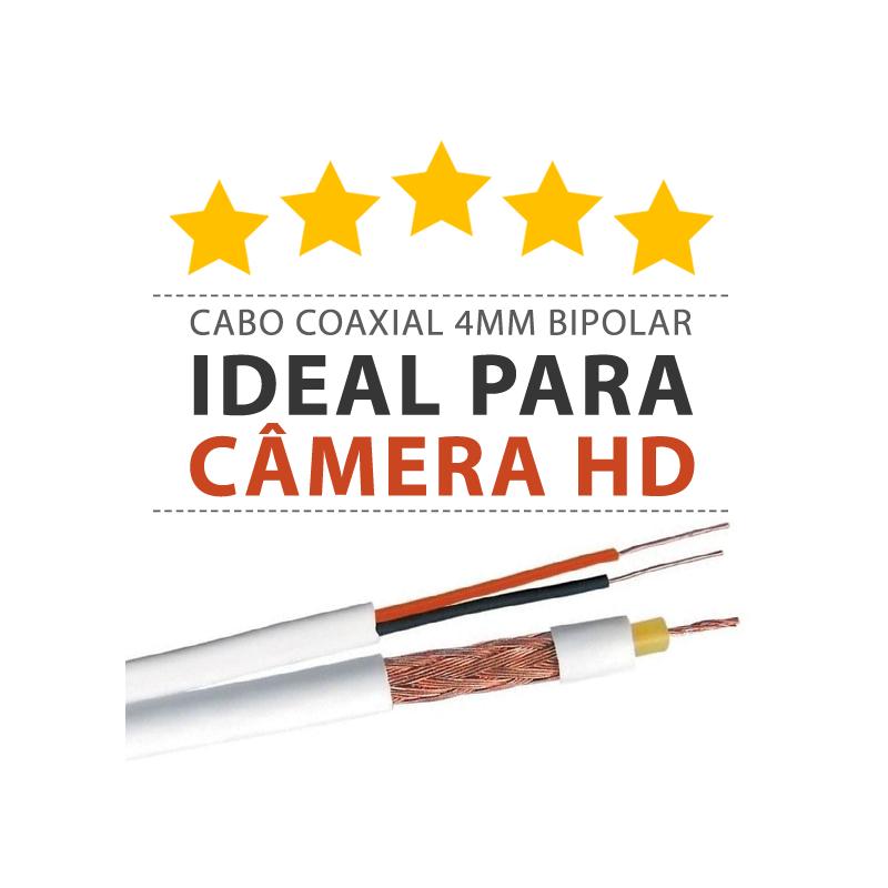 Super Cabo Coaxial para Câmeras HD 4mm Bipolar Reforçado Telecam  - CFTV Clube | Brasil