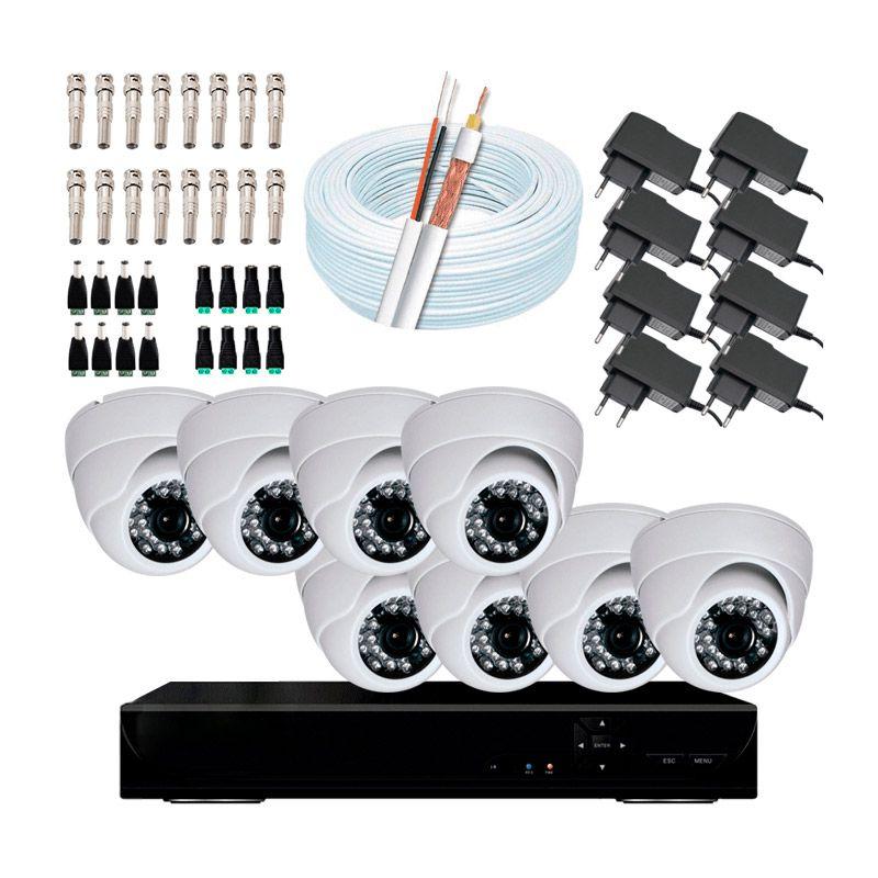 Super kit 8 câmeras dome, DVR 8 canais, conectores, fontes e cabo  - CFTV Clube | Brasil