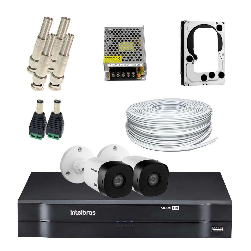 Super Kit Intelbras Oficial Econômico HD 2 Câmeras Bullet Completo  - CFTV Clube   Brasil