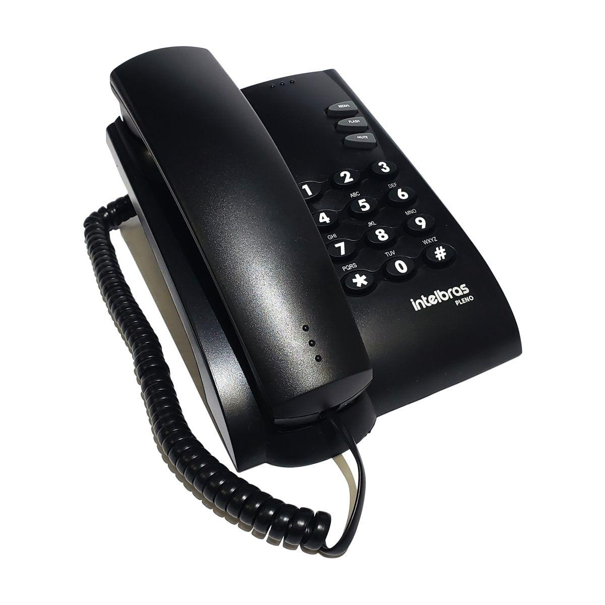 Telefone c/ Fio Intelbras Pleno Preto  - CFTV Clube | Brasil