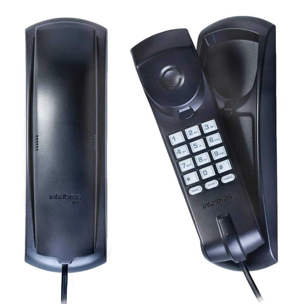 Telefone Intelbras TC 20 com Fio Preto  - CFTV Clube   Brasil