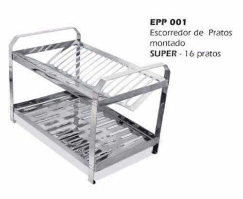 Escorredor INOX Montado Dinox 16 Pratos EPP001