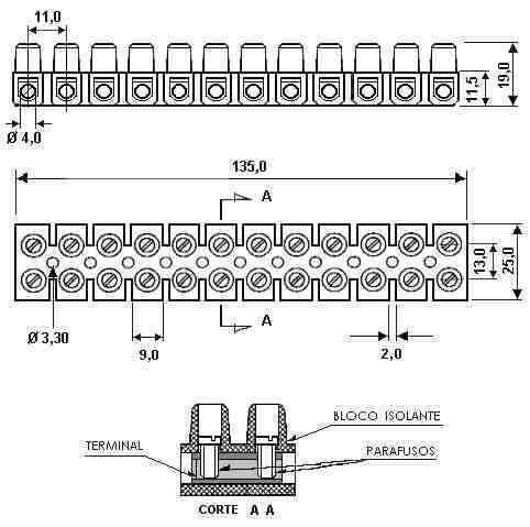 Conector de Barra Plástico Sindal 10M 612