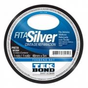 Fita Silver Adesiva Multiuso Preta Tek Bond 48mm X 5m
