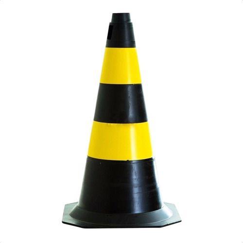 Cone Sinalização Amarelo E Preto 50cm Plastcor