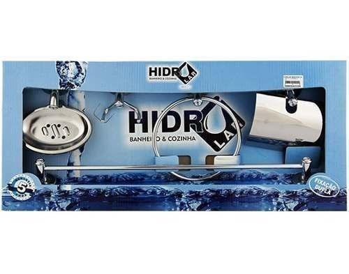 Kit Acessórios Banheiro Aço Inox 5 Peças Hidrolar