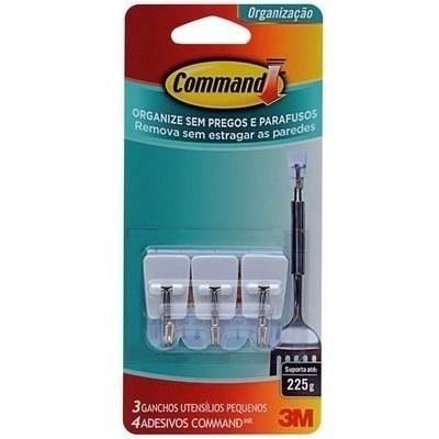 Gancho Command 3m P/ Cozinha Pequeno Adesivo 3pçs Plástico
