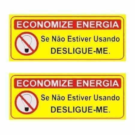 Placa Sinalizadora Economize Energia 8 Unidades 3x5cm