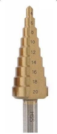 Broca Escalonada 9 Medidas Titanio Disflex 04 A 20mm