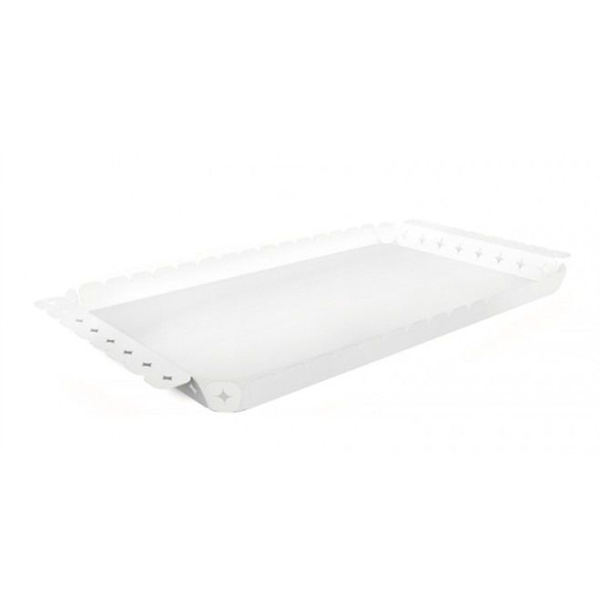 Bandeja Tramontina Retangular Branca Em Aço Inox Desenhos Vazados 47 X 25 Cm
