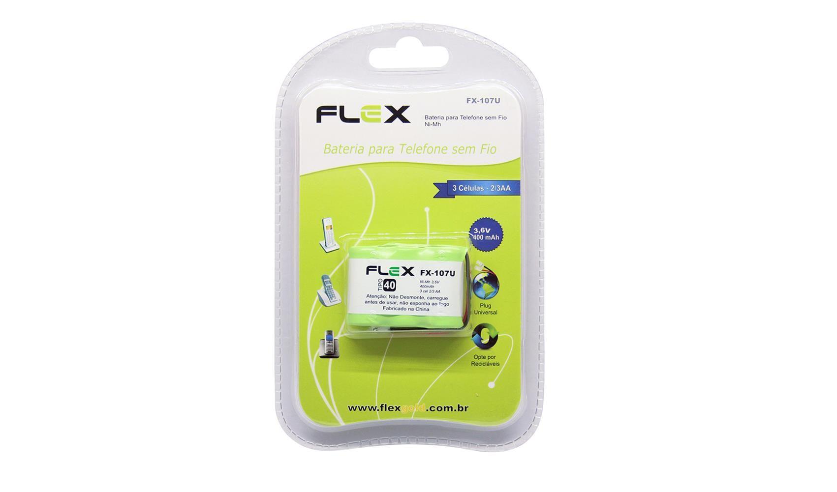 Bateria Telefone Sem Fio Ni-cd 3.6v 400mah Fx-107u Flex
