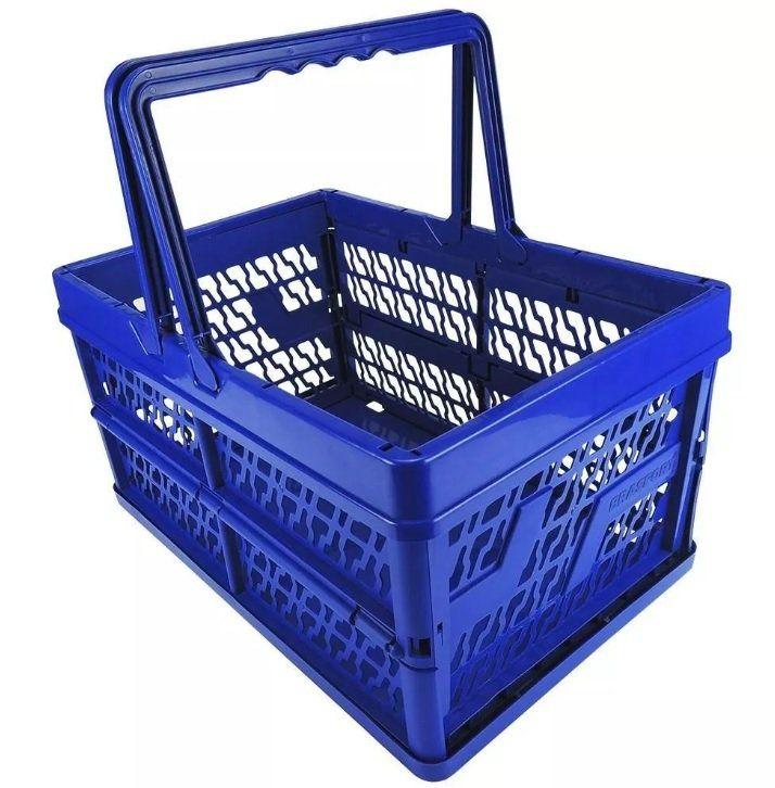 Caixa Organizadora Plástico Dobrável Multiuso Com Alça 12kg