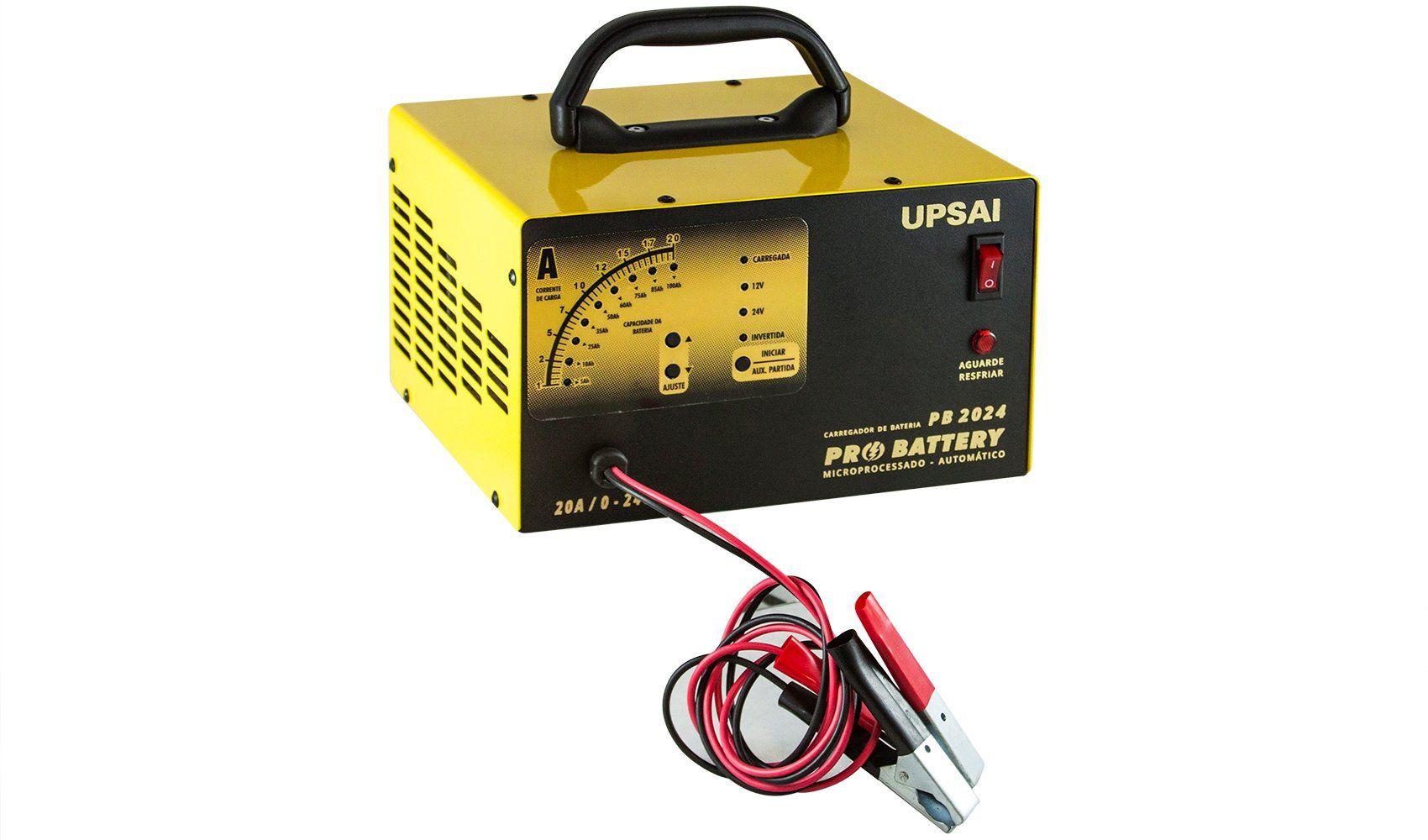 Carregador de Baterias 20A 0 a 24V Bivolt com Auxiliar de Partida - UPSAI-PB2024