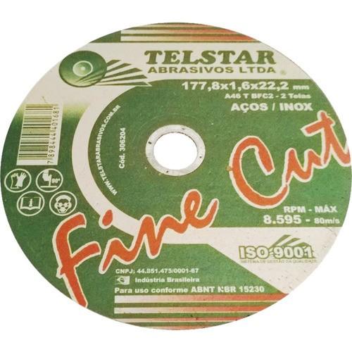 Disco De Corte Para Inox Telstar 7x1,6mm X7/8 (5 Unidades)