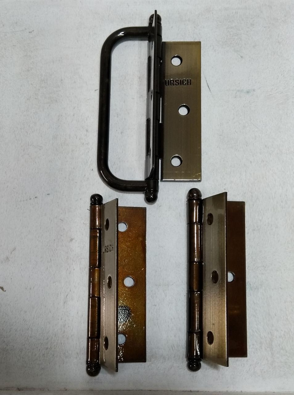 Dobradiça com ALÇA para Porta Camarão Ferro Oxidado 3 Peças