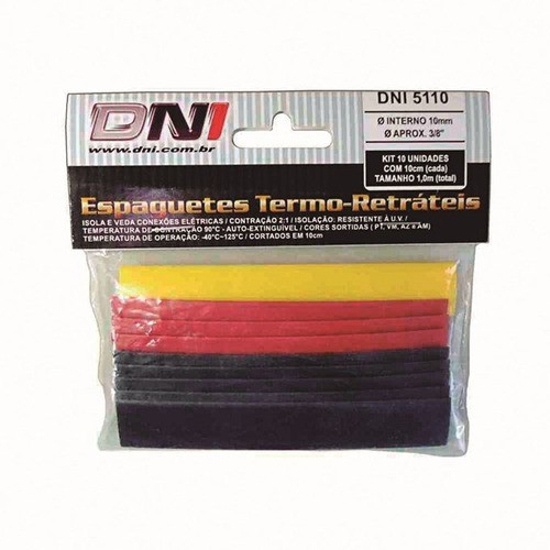 Espaguete Termo Retratil 10mm Dni - Dni5110 C/ 10