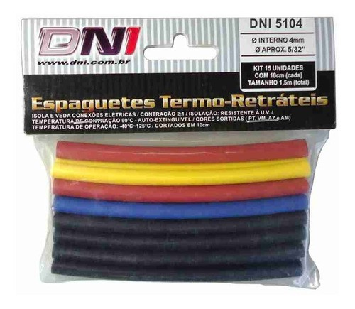 Espaguete Termo Retrátil 4mm - Dni 5104 C/15p