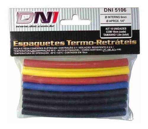 Espaguete Termo Retrátil 6mm - Dni 5106 C/15pcs