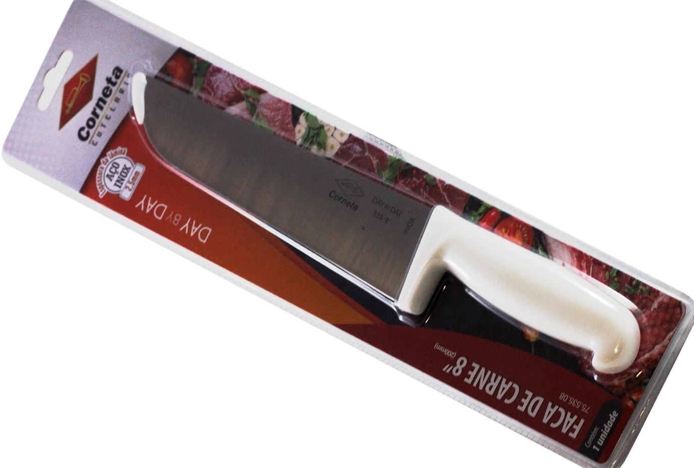 Faca açougueiro para carne em aço Inox 10 Pol, Corneta