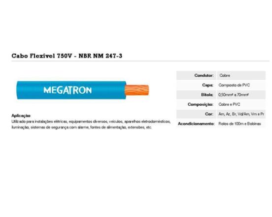 Fio Cabinho 1,00m PT Megatron
