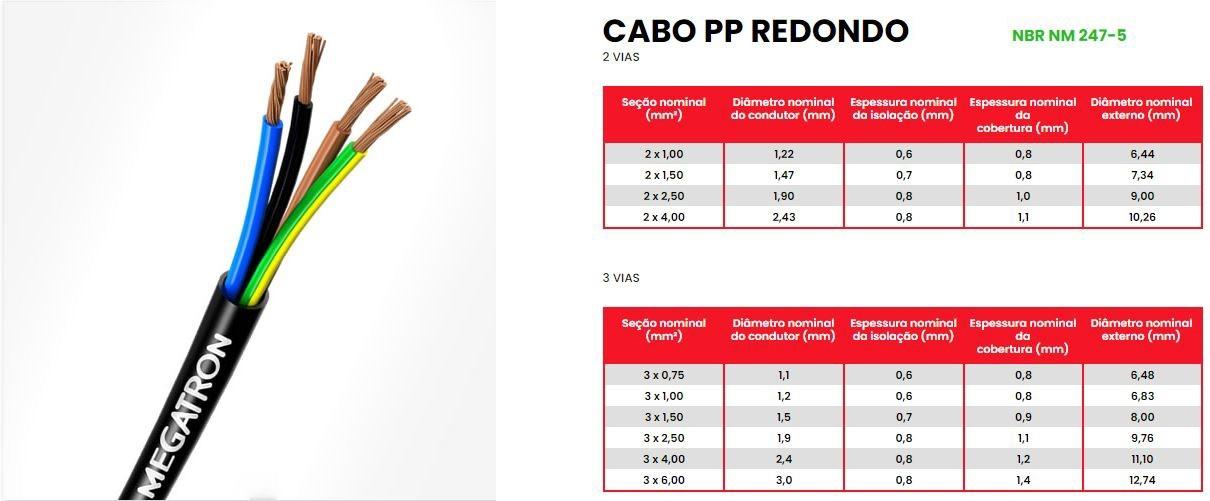 Fio Cabo PP 3x1mm 100m Megatron